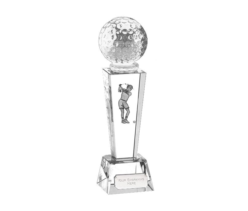"Optical Crystal Unite Female Golfer Glass Award 21.5cm (8.5"")"
