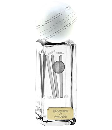 "Clarity Crystal Cricket Ball Glass Award 17cm (6.75"")"