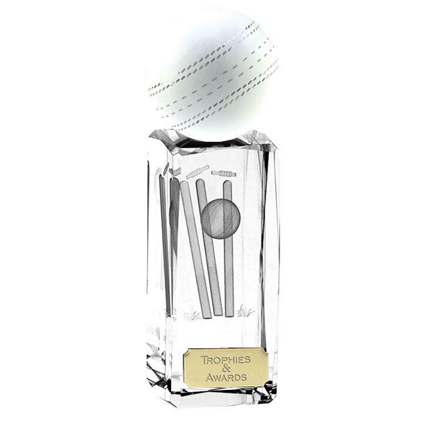 """Clarity Crystal Cricket Ball Glass Award 17cm (6.75"""")"""