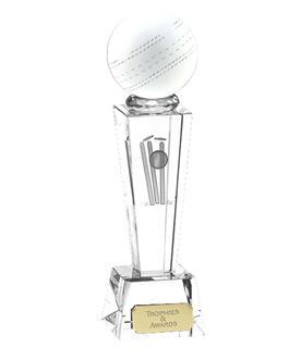 """Clarity Crystal Cricket Ball Glass Award 22cm (8.75"""")"""