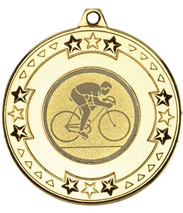 "Gold Road Bike Cycling Medal with Star Pattern 50mm (2"")"