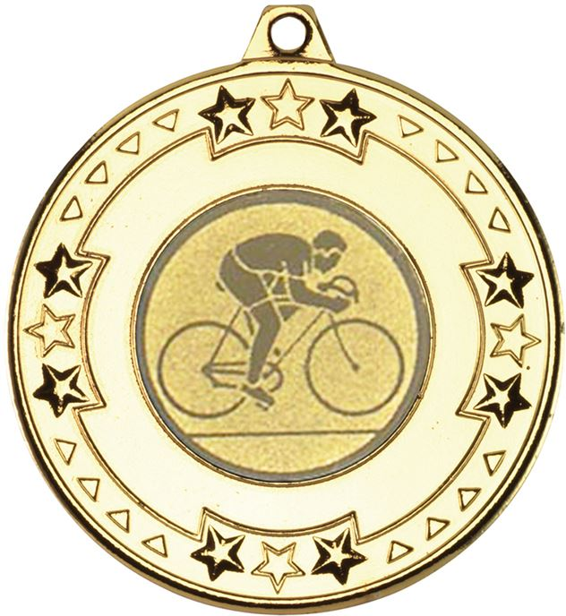 """Gold Road Bike Cycling Medal with Star Pattern 50mm (2"""")"""