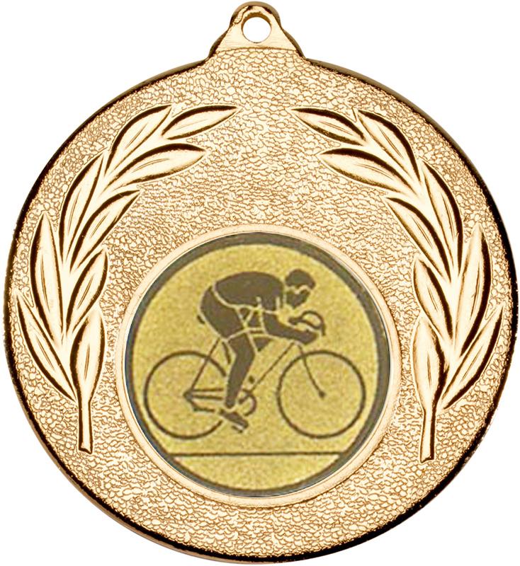 """Gold Leaf Medal with 1"""" Road Bike Centre Disc 50mm (2"""")"""