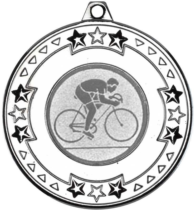 """Silver Star & Pattern Medal with 1"""" Road Bike Centre Disc 50mm (2"""")"""