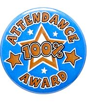 "Attendance 100% Award Pin Badge 25mm (1"")"
