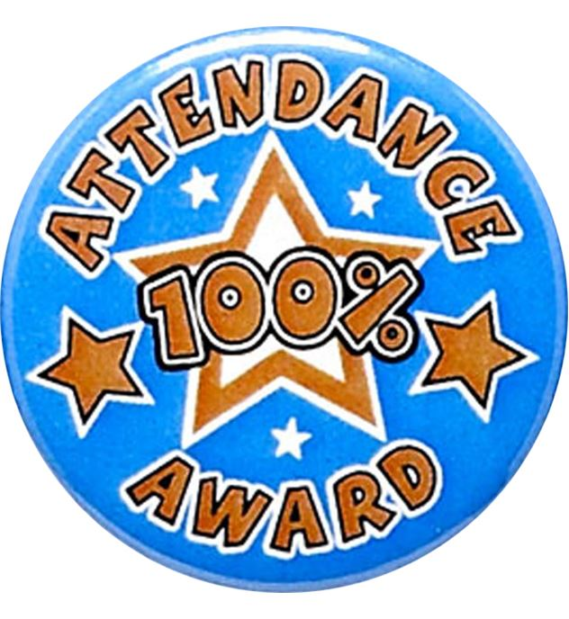 "Attendance 100% Award Pin Badge 25mm (1"")"