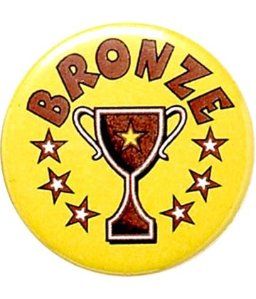 "Bronze Cup Yellow Pin Badge 25mm (1"")"