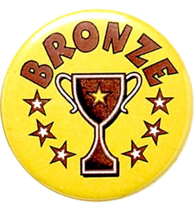"""Bronze Cup Yellow Pin Badge 25mm (1"""")"""