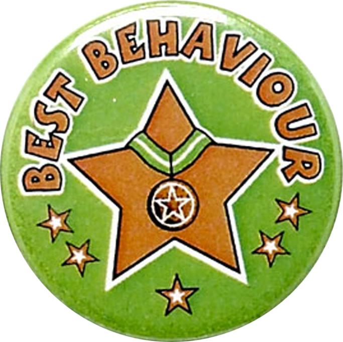 "Green Best Behaviour Pin Badge 25mm (1"")"