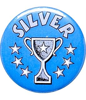 "Silver Cup Blue Pin Badge 25mm (1"")"