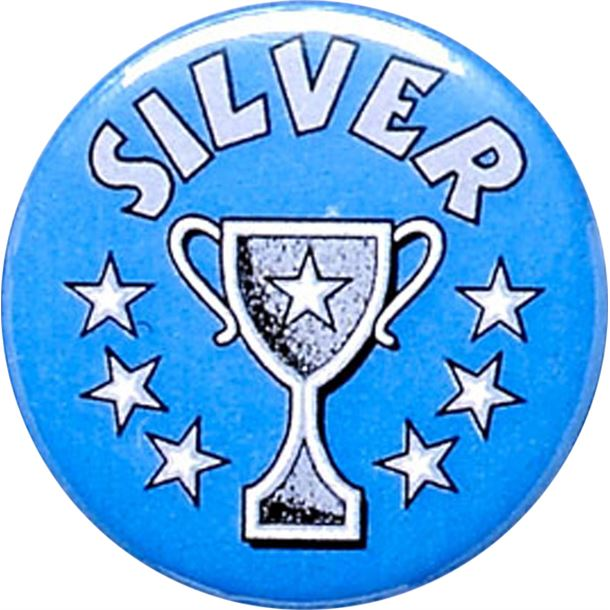 """Silver Cup Blue Pin Badge 25mm (1"""")"""