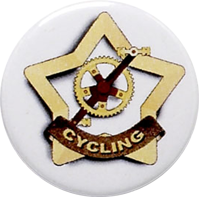 "White Cycling Pin Badge 25mm (1"")"