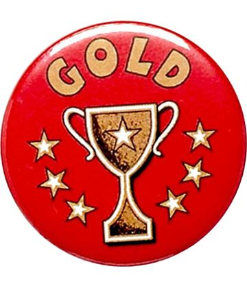 "Gold Cup Red Pin Badge 25mm (1"")"
