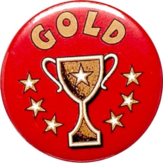 """Gold Cup Red Pin Badge 25mm (1"""")"""