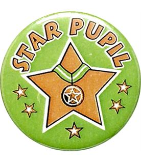"""Green Star Pupil Pin Badge 25mm (1"""")"""