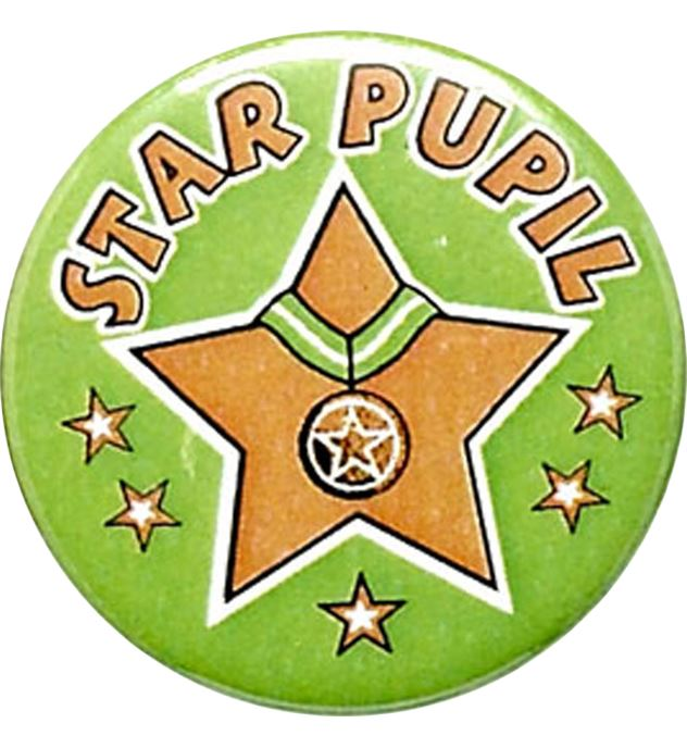 "Green Star Pupil Pin Badge 25mm (1"")"
