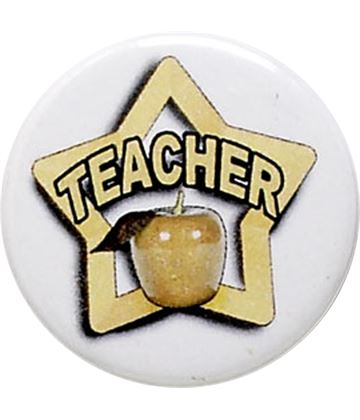 "White Teacher Pin Badge 25mm (1"")"