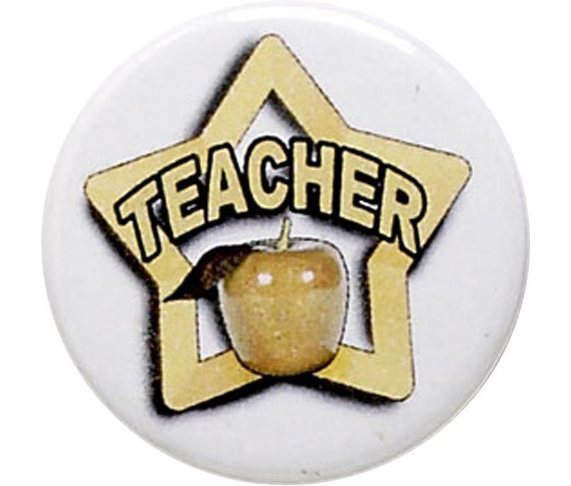 """White Teacher Pin Badge 25mm (1"""")"""