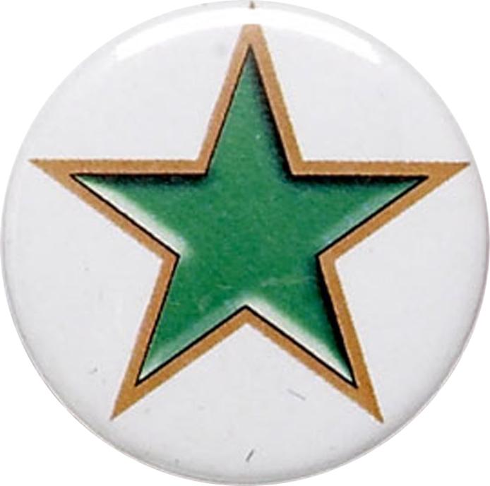 """Green Star Pin Badge 25mm (1"""")"""