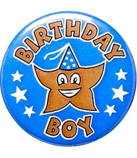 "Blue Birthday Boy Pin Badge 25mm (1"")"