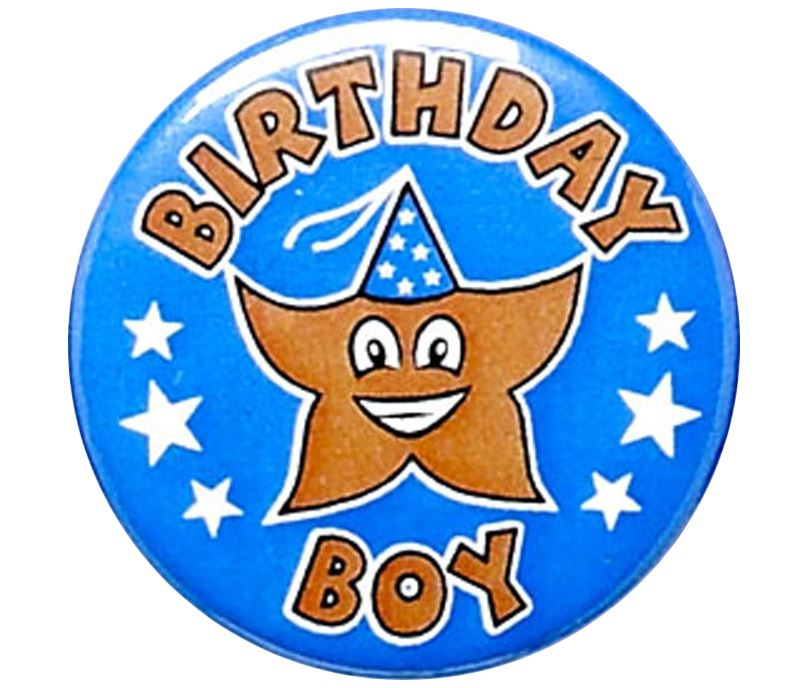 "Blue Birthday Boy Pin Badge 25mm (1"")"