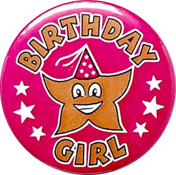 "Pink Birthday Girl Pin Badge 25mm (1"")"