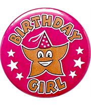 "Pink Birthday Girl Pin Badge 25mm (1"")"