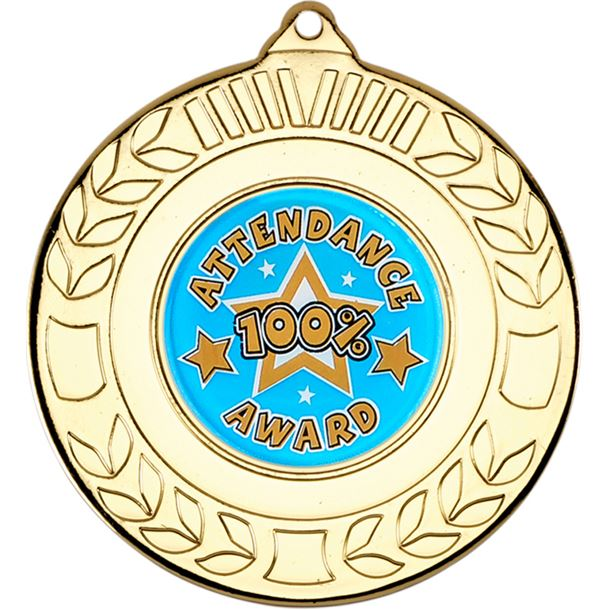 """Gold Attendance Medal with Wreath Pattern 50mm (2"""")"""