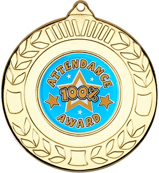 "Gold Attendance Medal with Wreath Pattern 50mm (2"")"