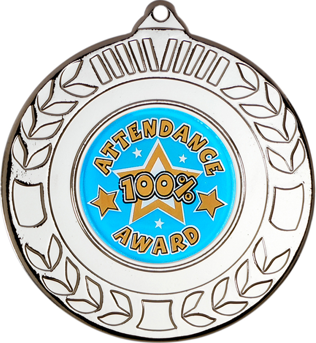 "Silver Attendance Medal with Wreath Pattern 50mm (2"")"