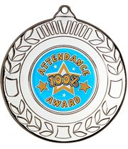 """Silver Attendance Medal with Wreath Pattern 50mm (2"""")"""