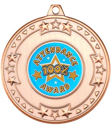 "Bronze Attendance Medal with Star Pattern 50mm (2"")"