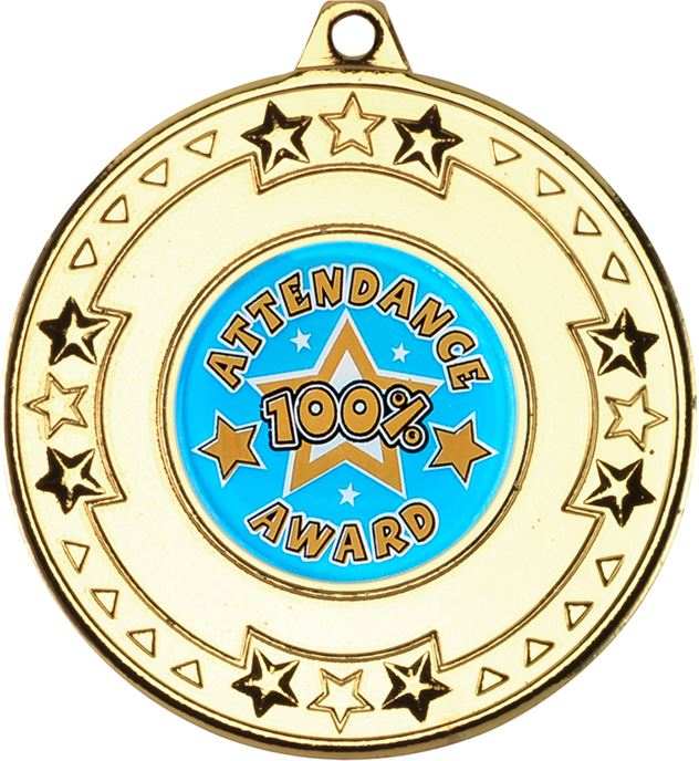 "Gold Attendance Medal with Star Pattern 50mm (2"")"
