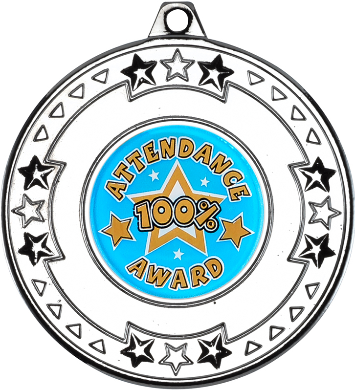 "Silver Attendance Medal with Star Pattern 50mm (2"")"