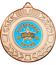 """Bronze Attendance Medal with Wreath Pattern 50mm (2"""")"""