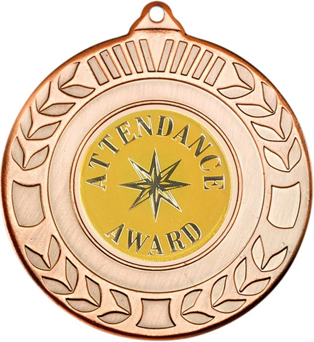"Bronze Attendance Award Medal with Wreath Pattern 50mm (2"")"