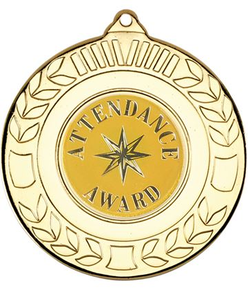 "Gold Attendance Award Medal with Wreath Pattern 50mm (2"")"