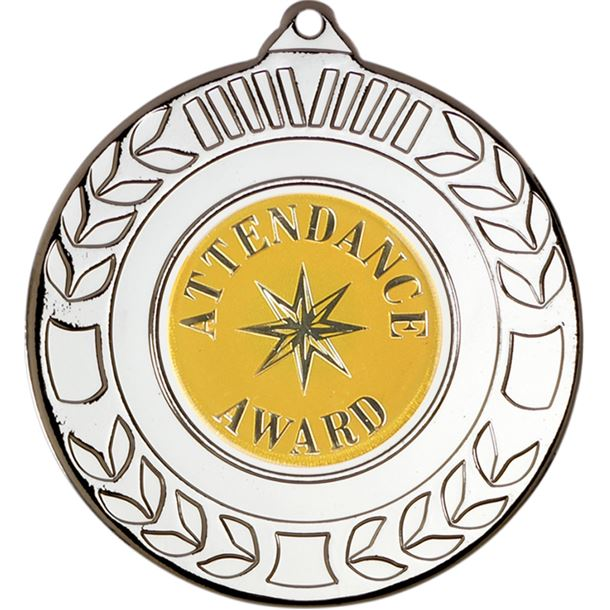 """Silver Attendance Award Medal with Wreath Pattern 50mm (2"""")"""