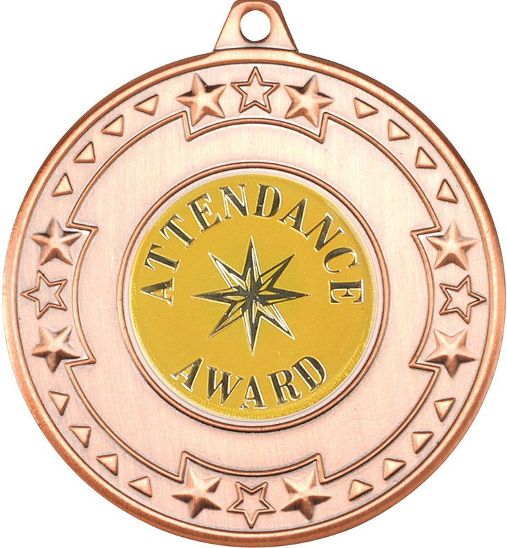 "Bronze Attendance Award Medal with Star Pattern 50mm (2"")"