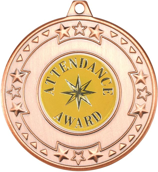 """Bronze Attendance Award Medal with Star Pattern 50mm (2"""")"""