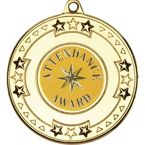"""Gold Attendance Award Medal with Star Pattern 50mm (2"""")"""