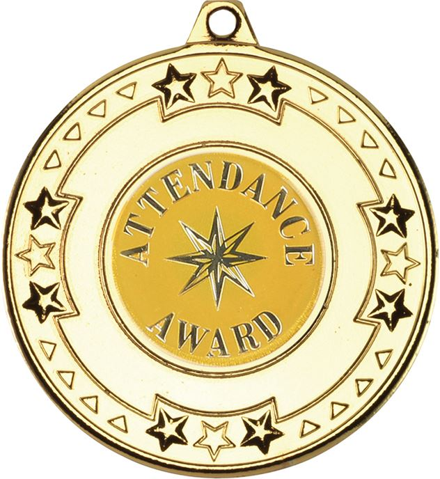 "Gold Attendance Award Medal with Star Pattern 50mm (2"")"