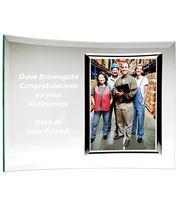 Curved Jade Glass Award with Photo Frame 20cm x 28cm