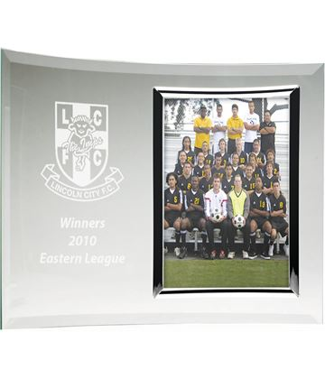 Curved Jade Glass Award with Photo Frame 17.5cm x 25.5cm