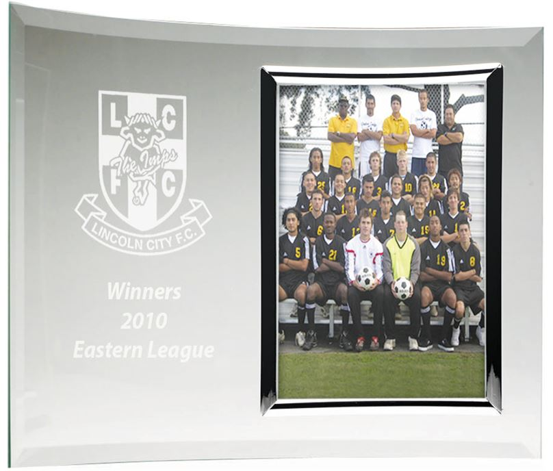 Curved Jade Glass Award with Photo Frame 17.5cm x 25.5cm