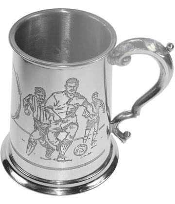 "Football Scene Patterned 1pt Sheffield Pewter Tankard 11.5cm (4.5"")"