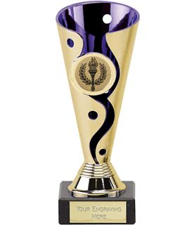 "Gold & Purple Plastic Carnival Trophy on Marble Base 15cm (6"")"