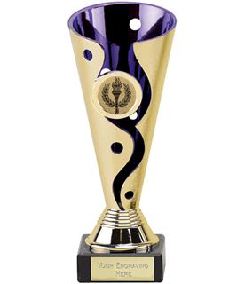 "Gold & Purple Plastic Carnival Trophy on Marble Base 17cm (6.75"")"