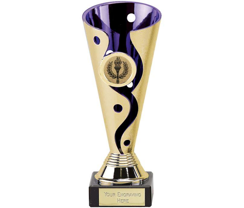 "Gold & Purple Plastic Carnival Trophy on Marble Base 17cm (6.75"")"