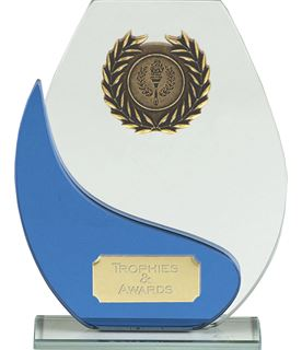 "Blue & Clear Glass Laurel Wreath Plaque Award 19cm (7.25"")"